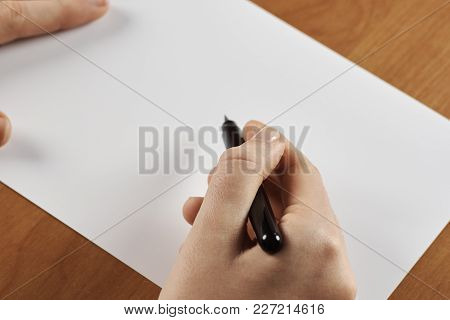 Female Hands Holding Calligraphic Brush Or Pen, With White Blank Paper - With Space For Text
