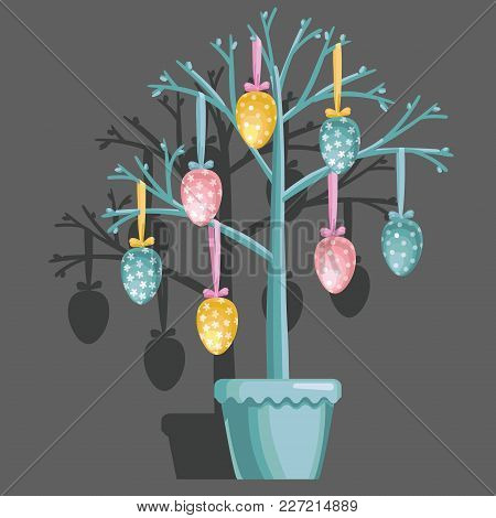 Decorative Tree With Easter Eggs In A Pot. Elements Isolated On Grey Background