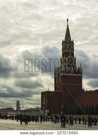 Russia, Moscow - September 24, 2016: Spasskaya Tower On The Red Square