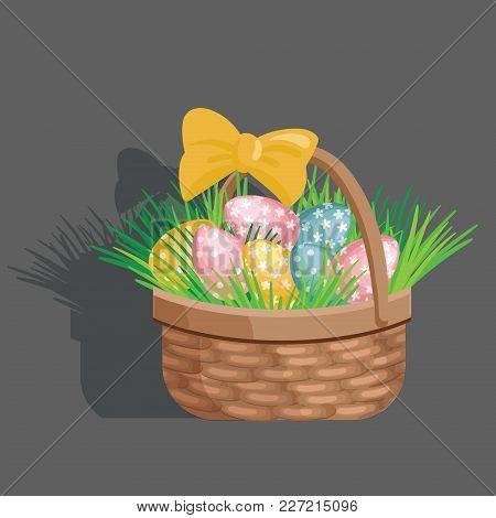 Basket Egg Easter Celebration. Elements Isolated On Grey Background