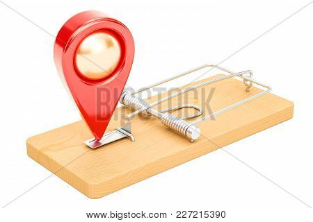 Trap With Map Pointer, 3d Rendering Isolated On White Background