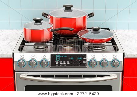 Steel gas cooker with pot, pan and frypan. 3D rendering poster