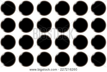 Pattern Of Black Smooth Bulging Bulky Abstract Shiny Beautiful Balls, Circles With Glare Of Light On