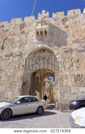 Jerusalem, Israel. - February 19.2017. In The Parked Car In The Entrance To The Old City Car Two Ara