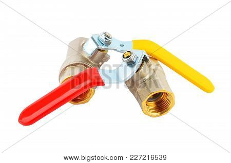 Water And Gas Tap, Isolated On White Background