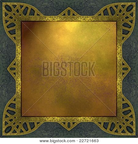 elegant gold background with distressed burnished gold frame, dark blue vintage grunge background, and copy space for your own text poster