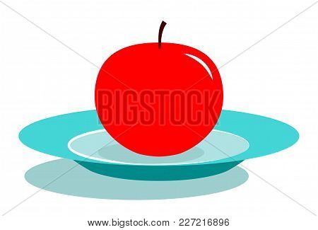 Vector Apple On Plate Isolated On White Background