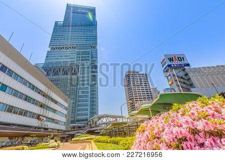 Osaka, Japan - April 30, 2017: Abeno Harukas Building Is A 300 Meter High Skyscraper Above Osaka Abe