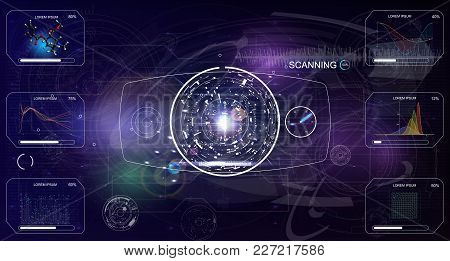 User Interface Of The Future. Infographic Elements.crypto Currency. Bitcoin.  Abstract Virtual Graph