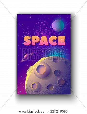 Vector Illustration Of Moon And Planets With Space Word.
