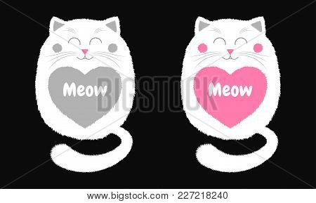 Vector White Cat In Cartoon Style. Funny Illustration Of Sitting White Kitten With Closed Eyes, With
