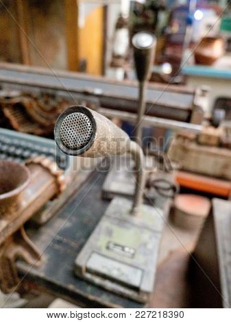 Microphone In Vintage Style In Antique Shop. Retro Styled Microphone.