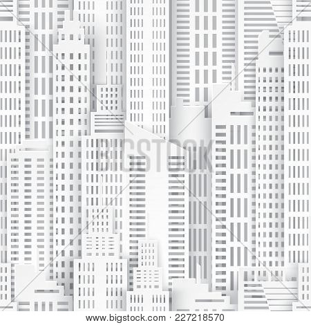 Seamless Urban Background. White Paper Skyscrapers. Achitectural Building In Panoramic View. Modern