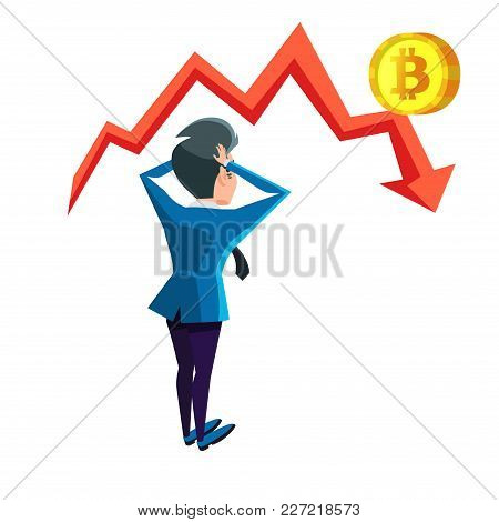 Shocked Businessman Looking On Bitcoin Crash Graph. Cryptocurrency Market Concept. Vector Illustrati