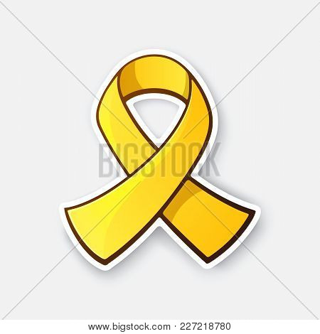 Vector Illustration. Gold Ribbon, Symbol Of Childhood Cancer. Yellow Ribbon, Symbol Of Suicide, Or E
