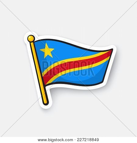 Vector Illustration. National Flag Of Democratic Republic Of The Congo. Countries In Africa. Locatio