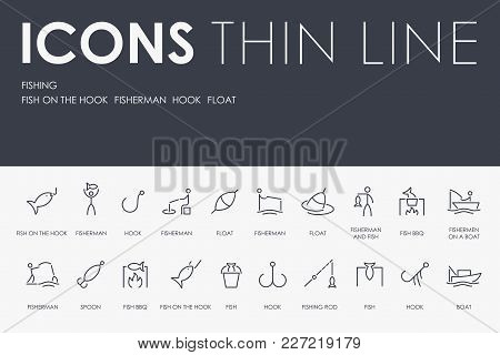 Set Of Fishing Thin Line Vector Icons And Pictograms