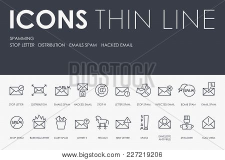 Set Of Spamming Thin Line Vector Icons And Pictograms