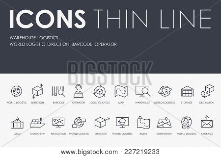 Set Of Warehouse Logistic Thin Line Vector Icons And Pictograms