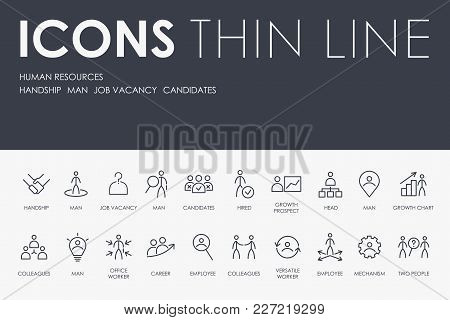 Set Of Human Resources Thin Line Vector Icons And Pictograms