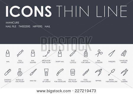 Set Of Manicure Thin Line Vector Icons And Pictograms