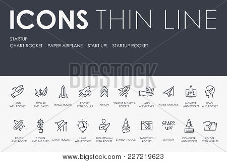 Set Of Startup Thin Line Vector Icons And Pictograms