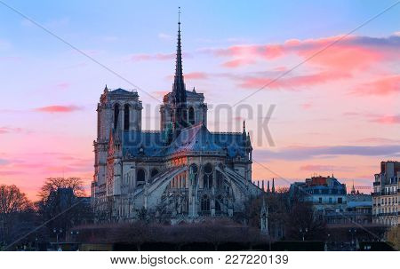 The Notre Dame Cahedral At Sunset. It Is Historic Catholic Cathedral, One Of The Most Visited Monume