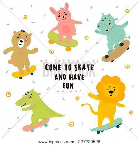 Animal Teen Skaters. Funny Cartoon Baby Lion, Crocodile, Bear, Bunny, Rabbit, Hippo Are Skateboardin
