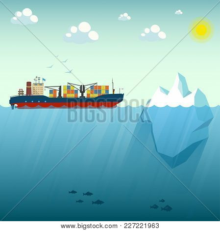 Container Ship Near The Iceberg. Vector Illustration On The Background Of Blue Sky. Shows The Upper