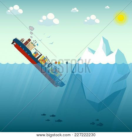 Shipwreck Iceberg Container Ship. The Ship Went Under Water Half Swimming Around The Containers. In