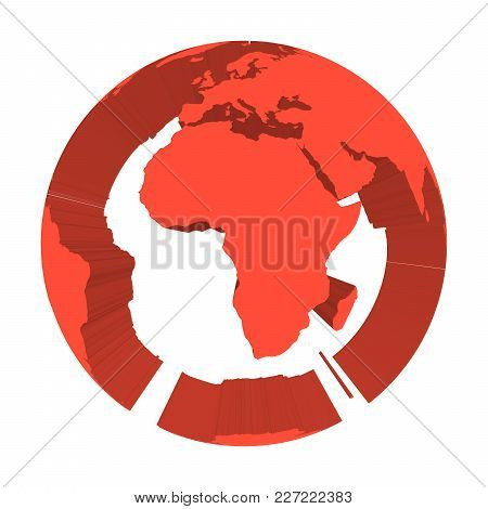 Earth Globe Model With Red Extruded Lands. Focused On Africa. 3d Vector Illustration.