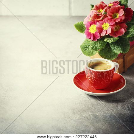 Close-up Of Hot Coffee, Moka-pot And Flowers.
