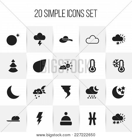 Set Of 20 Editable Climate Icons. Includes Symbols Such As Sunny Weather, Hat, Crescent Overcast And