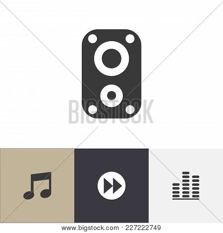 Set Of 4 Editable Melody Icons. Includes Symbols Such As Sound Amplifier, Music, Next And More. Can
