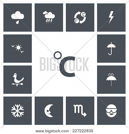 Set Of 13 Editable Climate Icons. Includes Symbols Such As Sleet, Umbrella Snowflake, Flash And More