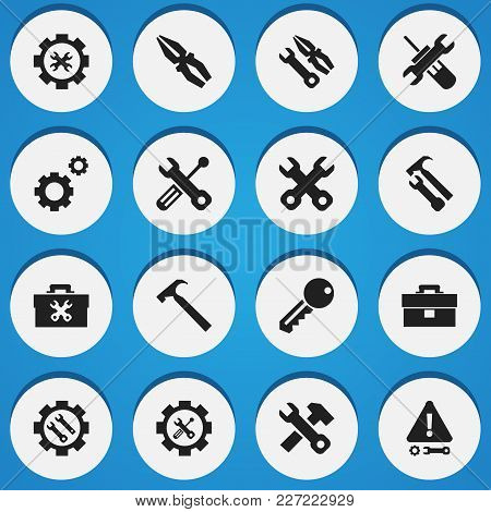 Set Of 16 Editable Toolkit Icons. Includes Symbols Such As Handle Hit, Instrument, Spanner. Can Be U