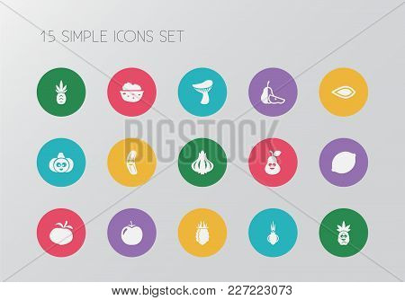 Set Of 15 Editable Cookware Icons. Includes Symbols Such As Mushroom, Walnut, Almond And More. Can B