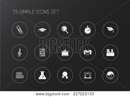 Set Of 15 Editable Education Icons. Includes Symbols Such As Schoolgirl, School Building, Pupil And