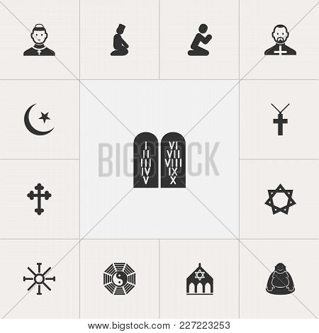 Set Of 13 Editable Dyne Icons. Includes Symbols Such As David Star, Ying Yang, Praying Man And More.