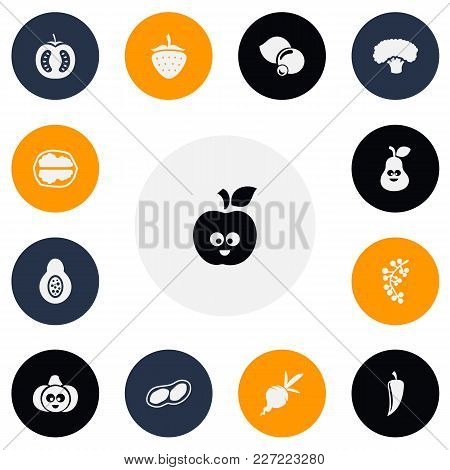 Set Of 13 Editable Cookware Icons. Includes Symbols Such As Beet, Currant, Strawberry And More. Can