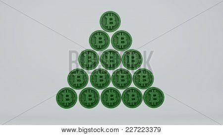 Financial Pyramid Of Bitcoins, 3d Render On A White Background