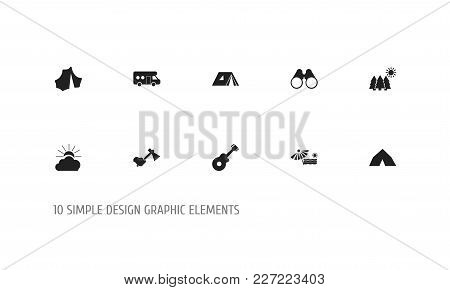 Set Of 10 Editable Travel Icons. Includes Symbols Such As Sunrise, Plage, Caravan And More. Can Be U