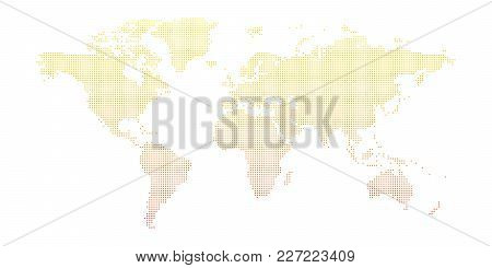 Vector Dotted World Map Isolated On White Background.