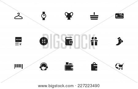Set Of 15 Editable Shopping Icons. Includes Symbols Such As Merchandise, Wallet, Atm. Can Be Used Fo