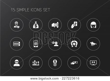 Set Of 15 Editable Casino Icons. Includes Symbols Such As Greenback, Security, Man In Glasses And Mo