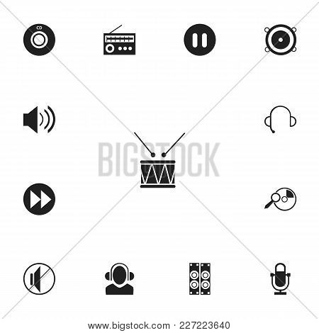 Set Of 13 Editable Sound Icons. Includes Symbols Such As Advanced, Break Music, Meloman And More. Ca
