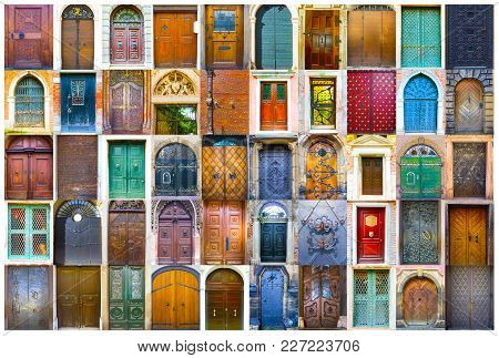 Collage Of Medieval Front Doors At Prague, Czech Republic, Venice, Italy And Salzburg, Austria. Euro