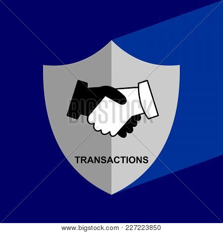 Shield Icon With Long Shadow - Transaction. Block Chain Icon. Vector Graphic Illustration.