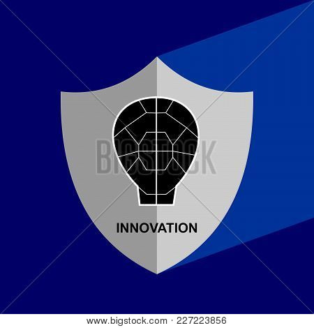 Shield Icon With Long Shadow - Inovation. Block Chain Icon. Vector Graphic Illustration.