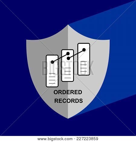 Shield Icon With Long Shadow - Ordered  Records. Block Chain Icon. Vector Graphic Illustration.